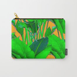 BRIGHT GREEN & GOLD TROPICAL FOLIAGE ART Carry-All Pouch