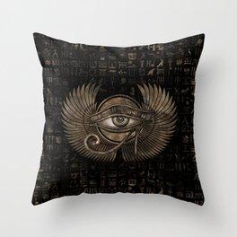 Egyptian Eye of Horus - Wadjet Vintage Gold Throw Pillow