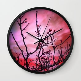 Dark Branches Red Buds And Fiery Sky Wall Clock