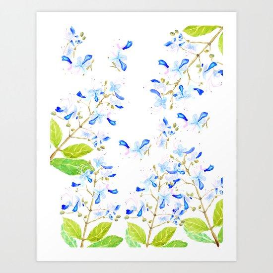 blue butterfly flowers arrangement watercolor Art Print