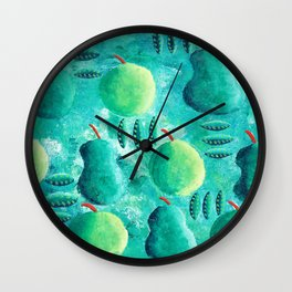 Apples and Pears with Leaves Wall Clock