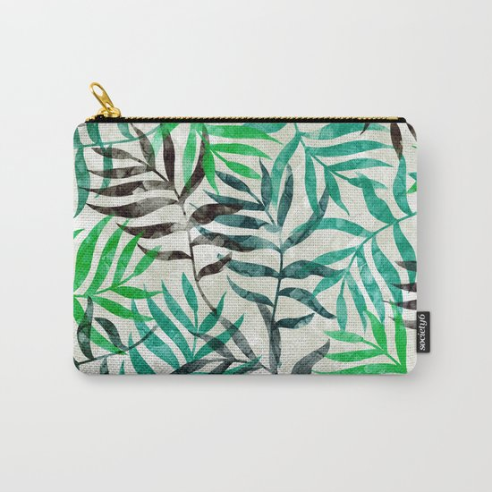 Watercolor Tropical Palm Leaves II Carry-All Pouch