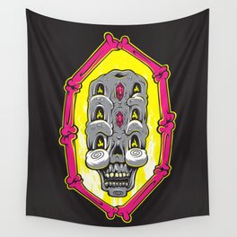Triple Stacked Skellington Tower Wall Tapestry
