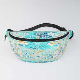 Abstract waves and gold pattern Fanny Pack