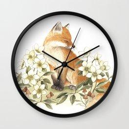 Springtime Fox Wall Clock