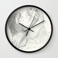 otters Wall Clocks featuring Playful Otters  by Jennifer Golla Art