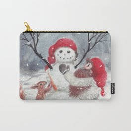 Gnome and squirrel building snowman - Christmas Carry-All Pouch