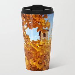 Bell Tower behind Yellow Ginkgo Leaves, blue sky Travel Mug