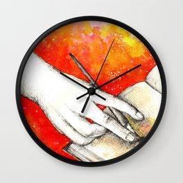Inky hands11-Writing Wall Clock