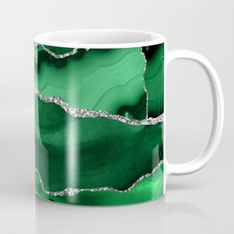 Glamour Emerald Bohemian Watercolor Marble With Silver Glitter Veins Coffee Mug