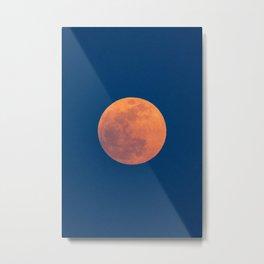 Red Moon, Moon, Blue Sky And Orange Metal Print