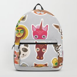 Sticker set of funny animals muzzle. Vector Backpack