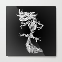 Axolotl Skeleton Metal Print