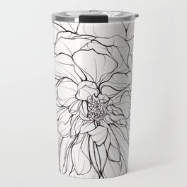 Ink Illustration of a Dahlia Travel Mug