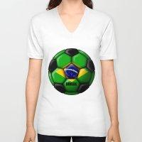 brasil V-neck T-shirts featuring Brasil Ball by kuuma