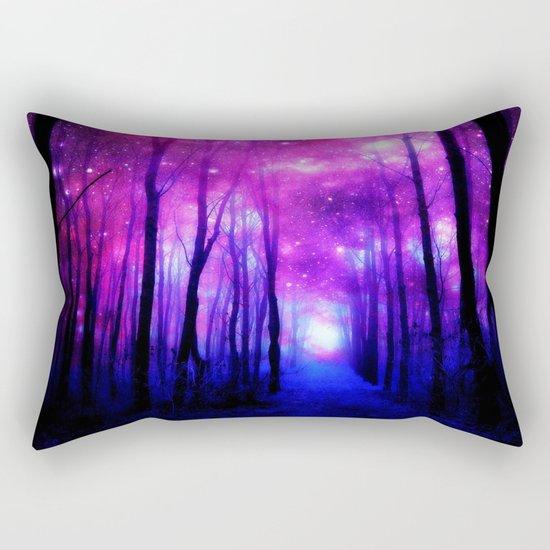 Magical Forest Path Fuchsia Purple Blue Rectangular Pillow