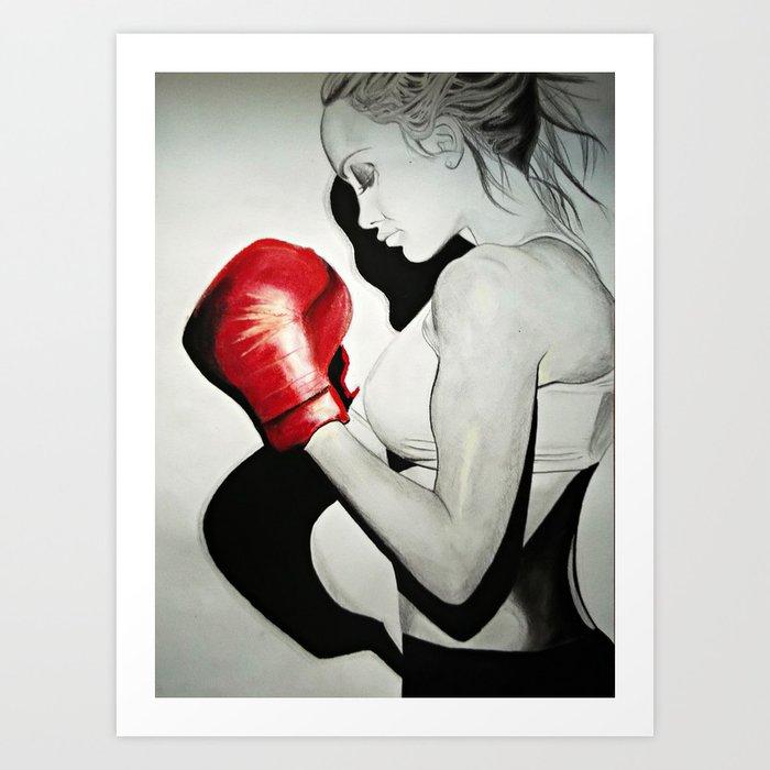 Boxing girl Art Print by kristiyanart | Society6