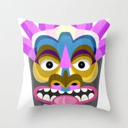 Tropical Tiki Mask Throw Pillow