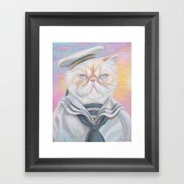 Sailor Kitty Cat Framed Art Print