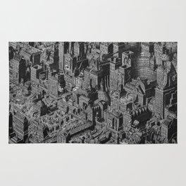 The Fantasy City. Urban Landscape Illustration. Rug
