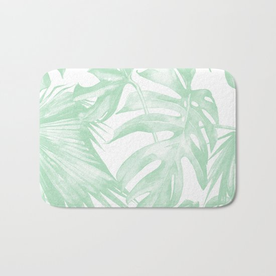 Light Green Tropical Palm Leaves Print Bath Mat