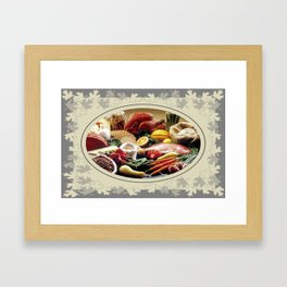 Thanksgiving Dinner and Autumn Decoration. Framed Art Print