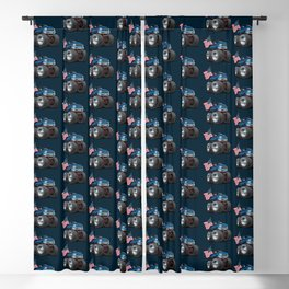 Monster Pickup Truck with USA Flag Cartoon Blackout Curtain