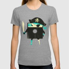 Software Pirate Tri-Grey SMALL Womens Fitted Tee