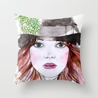 emma stone Throw Pillows featuring Emma Stone by Vicky Ink.