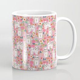 Shih Tzu florals love gift for dog person pet friendly portrait dog breeds unique small puppy Coffee Mug