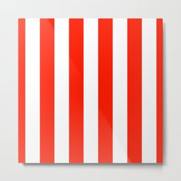 Fiesta Red and White Wide Vertical Cabana Tent Stripe Metal Print