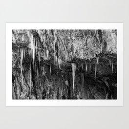Ice columns in cave Art Print