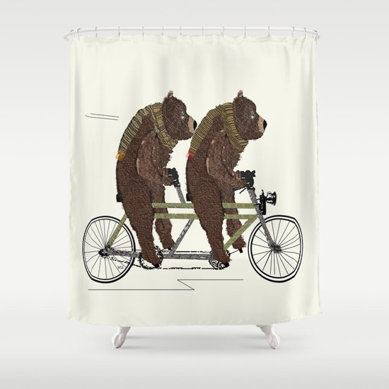 grizzly days lets tandem Shower Curtain
