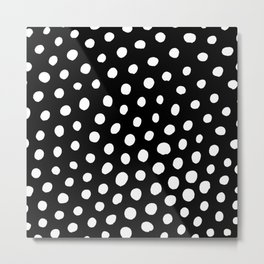 White Dots with Black Background Metal Print