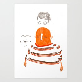 human and accompanying facial artifacts. Art Print