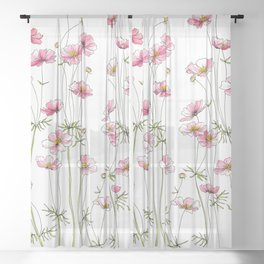 Pink Cosmos Flowers Sheer Curtain