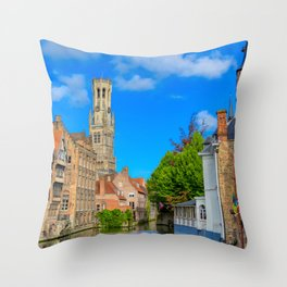 The canals of Bruges, Belgium. Throw Pillow