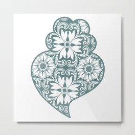 Traditionall portuguese Viana's heart and azulejo tiles background Metal Print