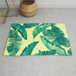 Summer lime leaves yellow pattern Rug