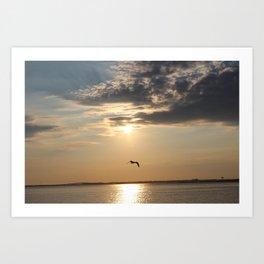 Sun Goes Down on the Bay Art Print