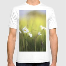 Daisy Landscape White MEDIUM Mens Fitted Tee