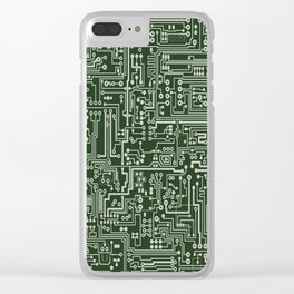 Circuit Board // Green & Silver Clear iPhone Case