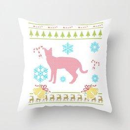 Pet Serval Christmas Sweater Shirt Servals As Pets Throw Pillow