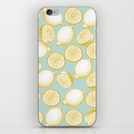 Lemons On Turquoise Background iPhone Skin
