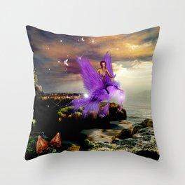 Wonderful fairy with bird Throw Pillow