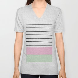 Modern geometric pastel pink green color block hand drawn stripes pattern Unisex V-Neck