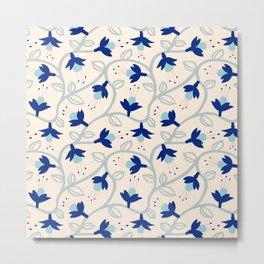 Fuchsias in Blue Metal Print