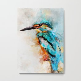 Watercolor kingfisher bird Metal Print