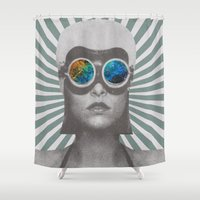 soldier Shower Curtains featuring Space Soldier by Serra Kiziltas