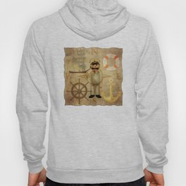 Captain, ship, rudder, anchor, lifebelt, map, compass, old map, messy, messy map Hoody